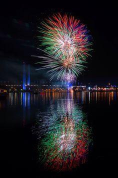 Destination #Docklands, Melbourne. #fireworks #reflections