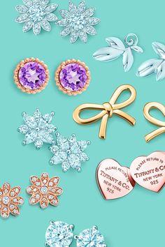 Tiffany Enchant™ flower earrings in 18k rose gold with diamonds, Tiffany Victoria™ cluster earrings in platinum with diamonds, Return to Tiffany™ mini heart earrings in RUBEDO® metal, Tiffany Sparkler