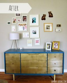 Painting an old dresser with interior latex paint and spray paint   She Makes a Home