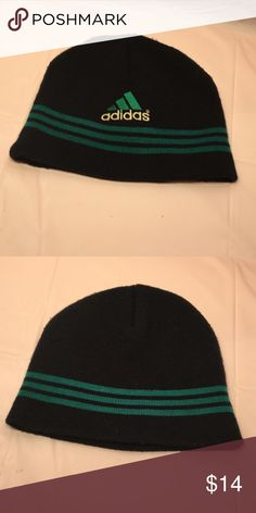 9a04e5b9 Vintage 90s Adidas beanie Vintage black Adidas beanie with emerald stripes  and embroidered adidas logo on
