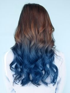 Lake blue ombre hair color idea for brown hair girls~ attractive summer waves~
