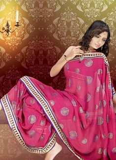 Pretty Pink Georgette Saree