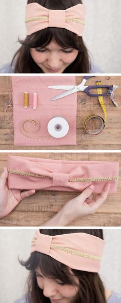 DIY tutorial sewing: gifts ideas & inspiration / DIY sewing hair ribbon with golden detail