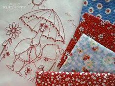 Download the PDF pattern for 'Summer Mellow', a redwork stitchery with bonus mini-quilt instructions!