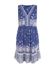 Blue Floral Print V Neck Sleeveless Dress | New Look