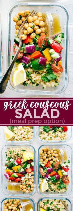 A delicious and healthy Greek couscous salad that everyone will go crazy for! (M. A delicious and healthy Greek couscous salad that everyone will go crazy for! (Meal prep options and tips included) via chelseasmessyapro. Office Food, Greek Salad, Couscous Salad Recipes, Couscous Salat, Couscous Healthy, Mediterranean Couscous Salad, Greek Chickpea Salad, Couscous Salad Dressing, Vegetarian Recipes