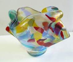 <3 Water Color Fiesta Fused Glass Art Vase by ArtBoxDesign on Etsy, $72.00