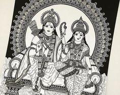 Hindu Goddess Durga , Home Decor art print Mandala Art Lesson, Mandala Artwork, Mandala Drawing, Zentangle Drawings, Doodles Zentangles, Rama Sita, Madhubani Art, Madhubani Painting, Art Drawings Sketches
