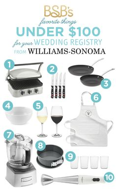 The Budget Savvy Bride's favorite items from Williams-Sonoma Wedding Registry under $100