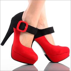 My two FAVORITE colors Red & Black! And then a thick-strapped buckle, AAAHH!!