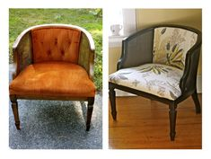 a peek into the archives: cane chair makeover--my chair is just like this, down to the orange velvet upholstery. Except my chair is a rocking chair.
