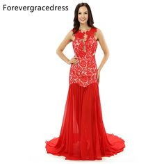 Forevergracedress Real Photo Gorgeous Chiffon Evening Dress 2017 Red Long Split Sleeveless Lace Formal Party Dress Plus Size