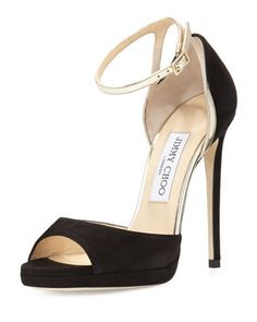 Pearl+Suede+120mm+Sandal,+Black/Champagne+by+Jimmy+Choo+at+Neiman+Marcus.
