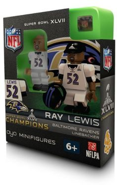 Ray Lewis Superbowl XLVII Champions Baltimore Ravens OYO Building Figure by Oyo. $12.99. Ray Lewis, Superbowl Champions OYO building figure toy. Figure includes Superbowl Champions Cap piece as well as Superbowl Helmet piece.  OYO minifigures are building toys made for the sports fan in all of us. OYO Sportstoys are minifigures designed to resemble Major League Baseball players, and are new to the roster of officially licensed Major League Baseball products in 2012.