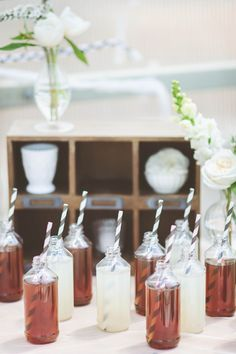 drinks + striped paper straws // photo by Paper Antler, styling by Confetti Pop // http://ruffledblog.com/modern-nouveau-wedding-ideas