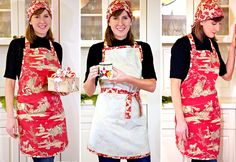 Free Pattern and Tutorial from sew4home~ French Country Apron with Matching Headscarf
