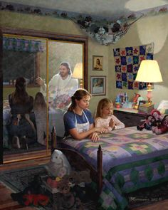 lds clip art | LDS ART.  What a great picture with depiction of Jesus watching over the praying Mom & daughter.