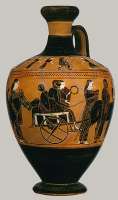Lekythos, ca. 550 b.c.; black–figure Attributed to the Amasis Painter Greek, Attic ~ Musicians playing at a wedding.