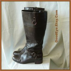 Vintage Flat Leather Field Boots Size 10 m  WIDE CALF by GoodEye, $52.00