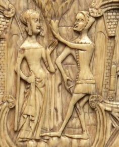 late 14th century Northern Italy    detail of ivory mirror case    Koechlin no. 1109    London, the British Museum        http://gothicivories.courtauld.ac.uk/images/ivory/6c05ec9b_d70c73e1.html