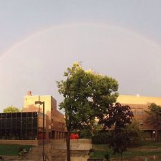 Rainbow over Harmon Fine Arts Center and Turner Jazz Center. By Carter Chapman, first year pre-pharmacy major. #DrakePOTD