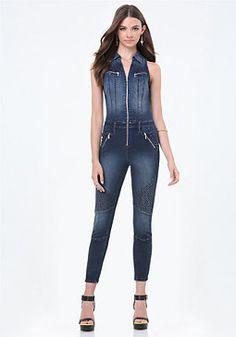 5e0e1610bca bebe Denim Crop Moto Jumpsuit Moto Jeans