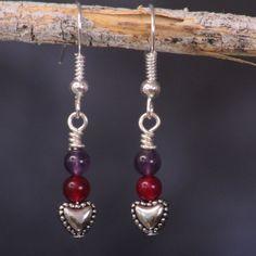 Ruby and Amethyst Heart Earrings by GemRunnerDesigns on Etsy