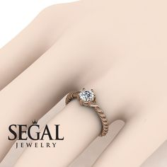 Rose Gold Engagement Ring by Segal Jewelry Unique Diamond Engagement Rings, Antique Engagement Rings, Diamond Wedding Rings, Diamond Rings, Solitaire Diamond, Solitaire Engagement, Gold Ring, Diamond Jewelry, Braided Ring
