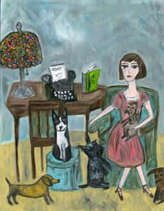 Dorothy Parker with her dogs. Print of an original oil painting by Vivienne Strauss. Dorothy Parker, Arte Dachshund, Face Illustration, Dog Portraits, Limited Edition Prints, Animal Paintings, Dog Art, Painting & Drawing, Painting Prints