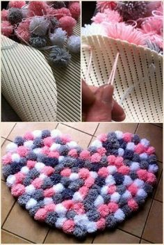 Pin by Specialgifts on Geschenke Tulle pom pom mobile Baby mobile Decorative by PomPomMyWorld - Salvabrani I love this idea - Diy and Crafts Diy Pom Pom Rug, Pom Pom Crafts, Yarn Crafts, Pom Poms, Diy Home Crafts, Creative Crafts, Arts And Crafts, Diy Bebe, Creation Deco