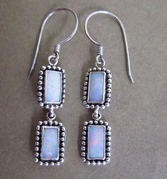 Balinese Silver Opal earrings #jewelry