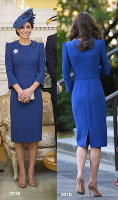 Duchess of Cambridge was wearing blue Jenny Packham dress in Canada during the Royal tour in September Kate again wore the dress in October 2016 during the Imperial War Museum. Kate Middleton Queen, Looks Kate Middleton, Estilo Kate Middleton, Kate Middleton Dress, The Duchess, Duchess Of Cambridge, Jenny Packham Dresses, Blue Dresses, Dresses For Work