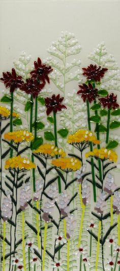 Summer Flowers, fused glass 10 x 22 made of transparent, irridized, opalescent glass  glassline pen, stringers and noodles by Delphi