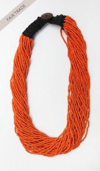 Beaded Macrame Necklace - Orange  (#Eco-friendly http://#Jewelry http://#Accessories http://#Earrings http://#Gold http://#Diamond http://#Bangles http://#Bracelets)