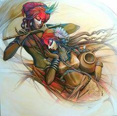 Radha Krishna 1   Painting by artist Manoj Das   acrylic   Canvas