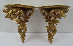 pair, rococo style gold leaf Bracket Shelves : Lot 387