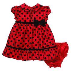 Red and black polka dot dress. Reminds me of a ladybug!