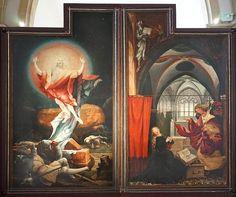 circa 1515, Résurrection et Annonciation (Musée Unterlinden,Colmar) Matthias Grünewald-The Annunciation,France,