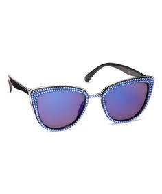 Look at this #zulilyfind! Blue Cat-Eye Sunglasses With Swarovski® Crystal by JIMMY CRYSTAL NEW YORK #zulilyfinds