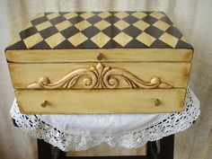 Vintage Upcycled Silverware Flatware Chest Hand Painted Harlequin Design Old…