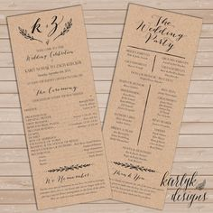 Rustic Fall Wedding Program Winter Printable by karlykdesigns