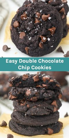 These soft baked chewy Double Chocolate Chip Cookies are so fudgy loaded with chocolate flavor and finished with a touch of flakey sea salt. If you love chocolate cookies this is an EASY recipe for you! - Chocolate Chip - Ideas of Chocolate Chip Double Chocolate Chip Cookie Recipe, Chocolate Chip Oatmeal, Dark Chocolate Chips, Chocolate Chocolate, Melted Chocolate, Easy Chocolate Cookies, Soft Baked Cookies, Chocolate Deserts, Chocolate Chip Recipes