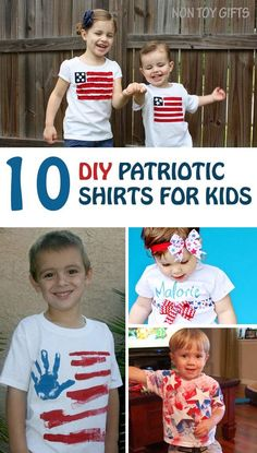 10 DIY patriotic shirts to make with kids and for kids. Great craft ideas for Memorial Day or 4th of July.   at Non Toy Gifts