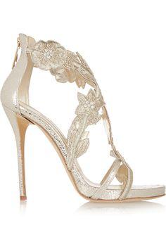 Oscar de la Renta|Tatum embellished metallic cracked-leather sandals|NET-A-PORTER.COM