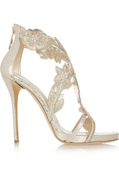 Oscar de la RentaTatum embellished metallic cracked-leather sandals