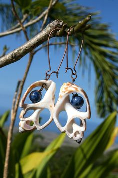 Copper Lapis stone Sea shell earrings Made in by fusedhawaii, $25.00