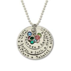 Generations Necklace Grandmothers Layered Silver Hand Stamped