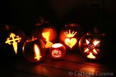 pumpkins carved with christian symbols | ... catholic symbolism especially symbols of the saints last year my