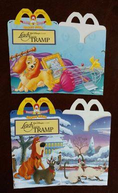 McDonald's Happy Meal Boxes Disney Lady and the Tramp 1990 Belgium Unused NOS #McDonalds