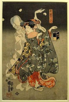 yamtai:    blueruins:    Oiwa the lantern ghost, by Utagawa Kuniyoshi (1798-1861), 1847-8. [more]    歌川国芳 於岩ぼうこん